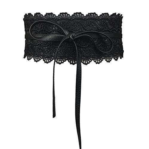Faux Leather Obi Wrap Belt Womens Cityelf Around Cinch Band Wide Boho Waistband (black a) ()