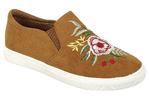 TravelNut Best Embroidered Flower Tan Sneakers Women Christmas Uniform Faux Leather Kitchen Comfortable Kung Fu Athletic Glitter Cheerleading Loafer Shoe Sale Ladies Teen Girl (Size 8.5, Tan)