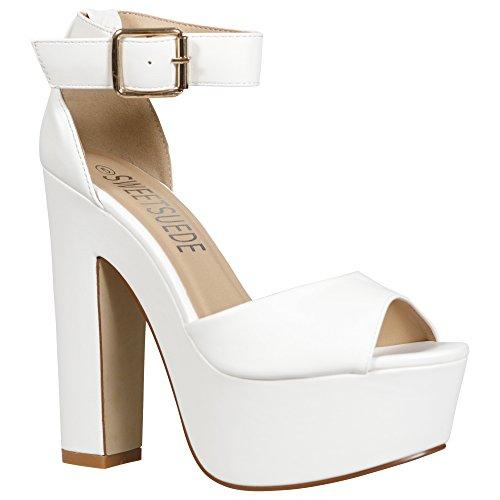 Damen-Sandalen mit Knöchelriemen, klobiger Absatz mit Plateausohle Weiß - White Pu