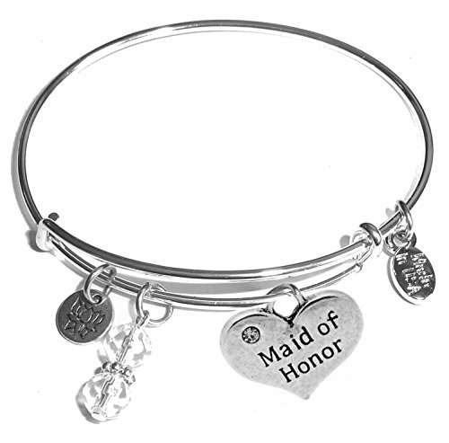 Message Charm (22 words to choose from) Expandable Wire Bangle Bracelet, in the popular style, COMES IN A GIFT BOX! (Maid of (Maid Of Honor Charm)