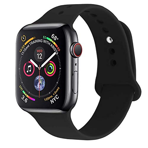 RUOQINI Compatible with Apple Watch Band 38mm40mm,Sport Silicone Soft Replacement Band Compatible for Apple Watch Series 4/3/2/1 [S/M Size - Black]