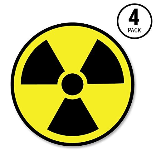 Biohazard Sticker - Sutter Signs Nuclear Radiation Warning Symbol Stickers - Individually Die-Cut - 3-inch Diameter (Pack of 4 Decals)