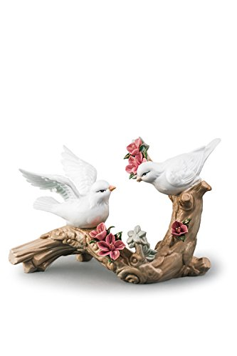 Animal Ceramic Statue (Doves On Blossoming Branch Love Birds Couple Porcelain Figurine Statuette Figure Collectibles)