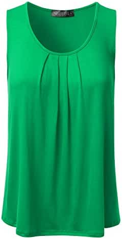 DRESSIS Women's Casual Pleated Scoop Neck Loose Fit Sleeveless Soft Tank Top