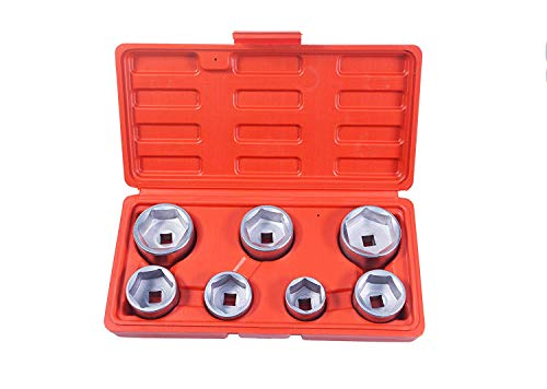 - 7-Piece Oil Filter Cap Wrench Tool Kit Includes 24mm,27mm,29mm,30mm,32mm,36mm,38mm Socket Set Compatible with Mercedes Benz, VW, BMW and More Automotive Cartridge Oil Filter Housing