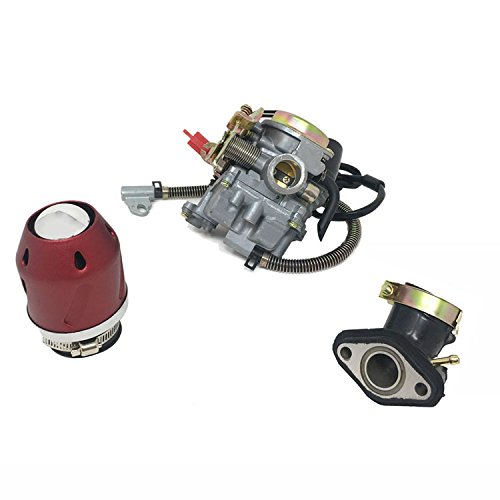 MMG Combo 50cc Carburetor, Air Filter 'Turbine', Intake Manifold 'Scooter won't run troubleshooting Kit' - Red by MYK MOTORCYCLE PARTS