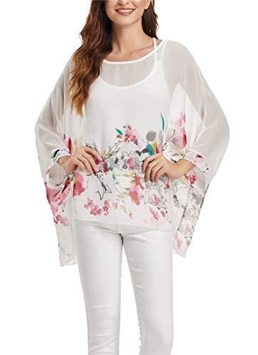(iNewbetter Boho Batwing Sleeve Chiffon Floral Printed Blouse Women Sexy Beach Tunic Tops FPP 356)