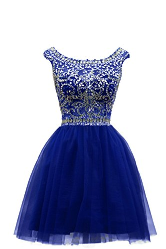 ZAHY Women's Beaded Tulle Scoop Neckline A Line Mini Party Dresses Blue 16