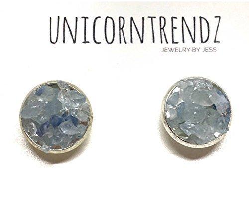 Aquamarine Earrings Silver Gold 8mm 12mm Gemstone Studs