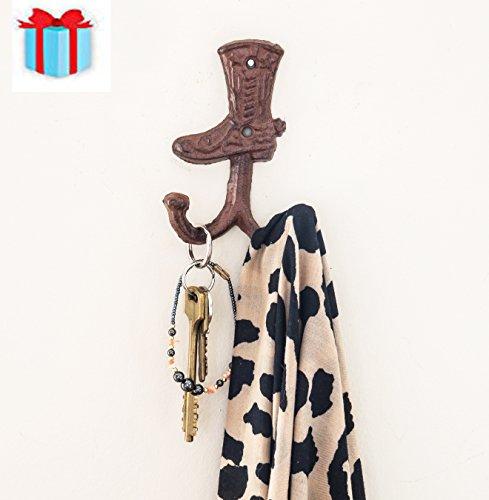 Cowboy Boot Double Wall Hook/Hanger | Decorative Wall Mounted Coat Hook | Rustic Cast Iron | 3.3x1.4x5