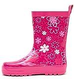 Outee Kids Girls Wellies Wellingtons Rain Boots Waterproof Rubber Shoes Toddler Pink Flower Print Rear Puller Cute Design (Size 13)