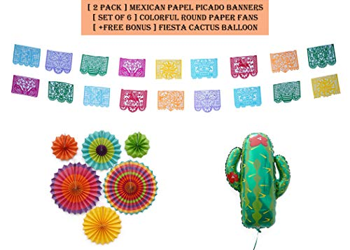 Premium Mexican Papel Picado Party Decorations Supplies Set - Includes [2 Pack] Banners, [Set of 6] Colorful Round Paper Fans and One (1) Fiesta Cactus Balloon