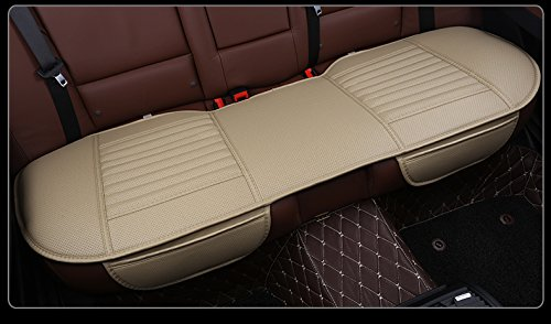 EDEALYN Auto Interior Accessories Styling PU Leather Charcoal Car Seat Cover Pad Seat cushion Mat Protective Cover for Car/ Office Chair ,Universal Seatpad (Beige- Back row)