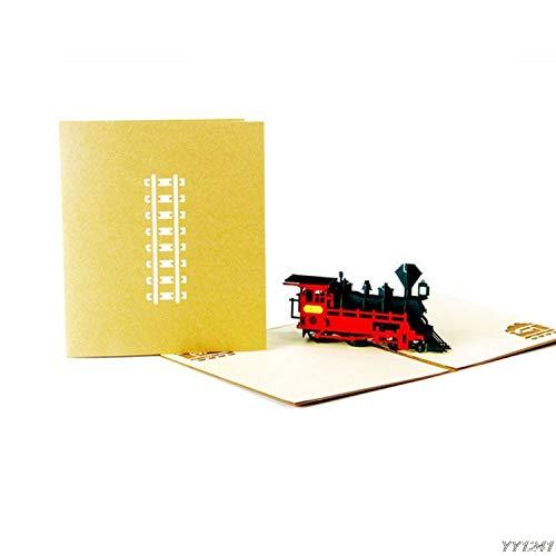 BATOP 3D Pop Up Greeting Cards Train Happy Birthday Thank You Halloween Christmas Postcard Gift -