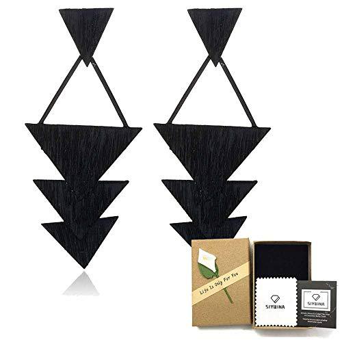 (Statement Earrings for Women Wood Bohemian Lightweight Dangle Fashion Cute (black Triangle))
