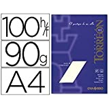 Canson - Pack, 100 hojas a4, papel torreon, verjurado, 90g ahuesado