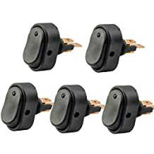 AutoEC 30 Amp 12 Volt LED ON-OFF Rocker Switch Toggle Triangle Plug Switch For Car Motorcycle Boat Marine (Blue, 5-pack)