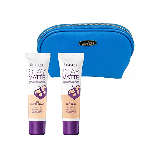 Rimmel Stay Matte Foundation Kit with Two 1 Ounce Shades; Light Porcelain and Soft Beige with Deep Blue Draizee Leather Cosmetic Bag