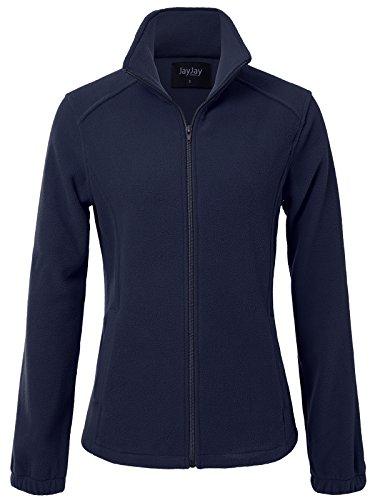 JayJay Women Ultra Soft Breathable Full-Zip Fleece Long Sleeve Jacket,Navy,XL