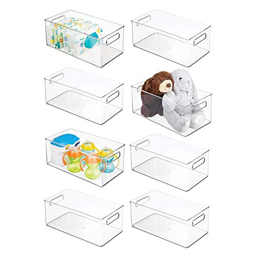 mDesign Storage Organizer Container Bin with Handles for Kids Supplies in Kitchen, Pantry, Nursery, Playroom - BPA Free & Food Safe - Holds Snacks, Bottles, Baby Food - 14.5