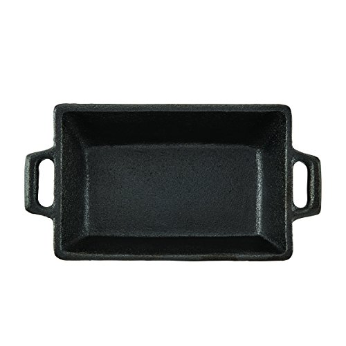CasaModa 5190351 Pre-Seasoned Cast Iron Mini Square Baker, 5.5-Inch-by-3.5-Inch (Dish Small Loaf)