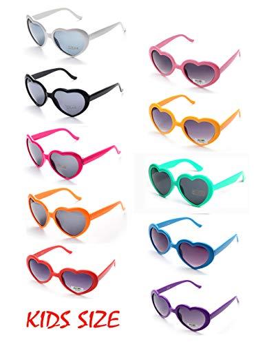 10 Neon Colors Heart Shaped Unisex Wholesale Sunglasses for Kids Party Favor Supplies (10-pack Mix)