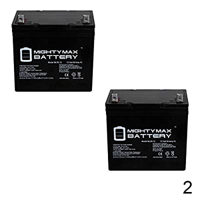 Mighty Max Battery 12V 55AH Quickie S622, S626, S646, Pulse 6 Battery - 2 Pack Brand Product: Electronics