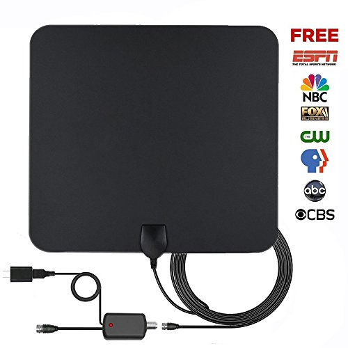 Price comparison product image TV Antenna, Yocilo Indoor Amplified HDTV Antenna 50 Mile Range with Detachable Amplifier Signal Booster, USB PowerSupply - Upgraded Version Better Reception