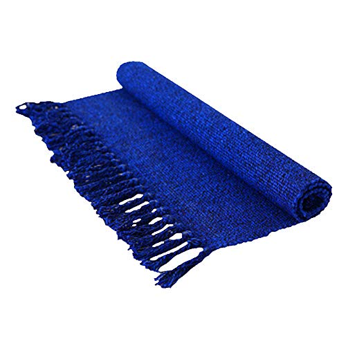 Eanpet braided Rug Cotton Area Rug Hand Woven Reversible Floor Rug Pure Tassels Throw Rugs Door Mat Laundry Room Rug with Non-Slip Pads Indoor Area Rugs Tablecloth Runner Bathroom (2x3 FT, Royal Blue)