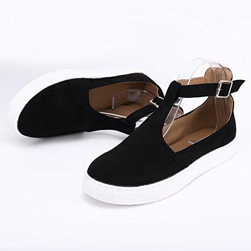 Round Shoes Women Heel Flat Shoes Out Platform Women Toe Strap ,Farjing Buckle Vintage Black1 For Sale Casual Clearance Shoes 8zwfpp