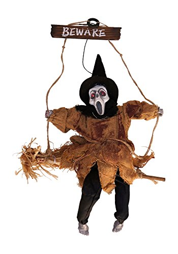 [Animated LED Musical Witch Ghoul with Sound Hanging Halloween Decoration (Beige)] (Scary Halloween Witches)