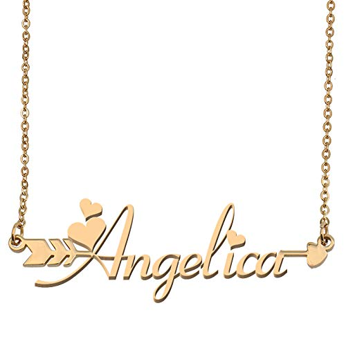 Aoloshow Customized Custom Name Necklace Personalized - Custom Angelica Initial Name Arrow Horizontal Monogrammed Necklace Gift for Womens ()