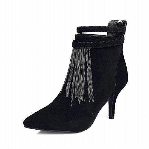 Carolbar Womens Fashion Pointed Toe Sexy Tassels Zipper Chains High Stiletto Heel Dress Boots Black lYudf