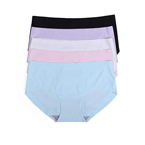 JingYun Women's Seamless Underwear Breathable Panties No Show Briefs Mesh Spandex Low Waist (X-Small, White/Pink/Purple/Black/Blue(5 -