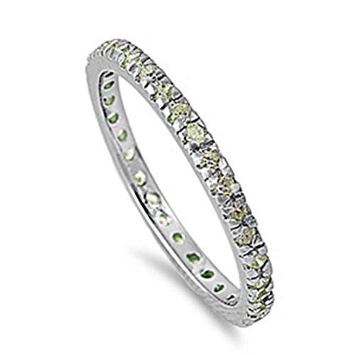 2mm Stackable Full Eternity Wedding Engagement Band Ring 925 Sterling Silver Simulated Peridot, Size-7 (Peridot Turtle)