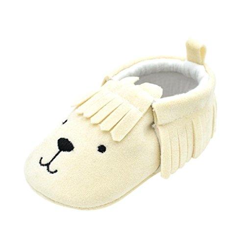 JIANGFU Baby/Bär/Weiche Unterseite/Kleinkindschuhe, Neugeborenes Baby Kleinkind Kleinkinder Mädchen Jungen Schuh Bär Tassle Soft Anti-Rutsch-Schuhe Beige