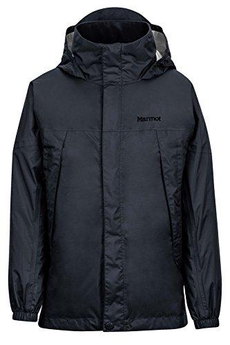 Marmot PreCip Boys' Lightweight Waterproof Rain Jacket, Jet Black, Large ()