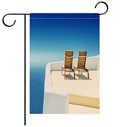 - BEICICI Double Sided Premium Garden Flag Empty Sun Lounge Chair on Balcony in Santorini at Sunrise Best for Party Yard and Home Outdoor Decor