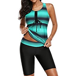 Aleumdr Womens Color Block Print Racerback Tankini Swimsuits with Swim Capris Green M 8 10
