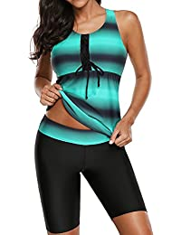 323107a633 Womens Blouson Striped Printed Strappy T-Back Push up Tankini Top with  Shorts