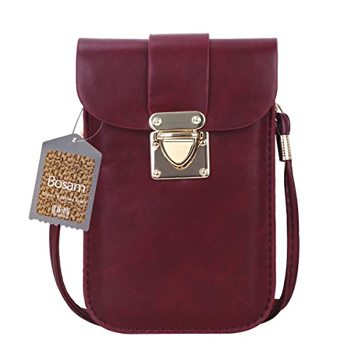 Bosam Mini Bag Cellphone pouch purse woman crossbody Wallet Case for Smartphone with Strap (Wine Red)