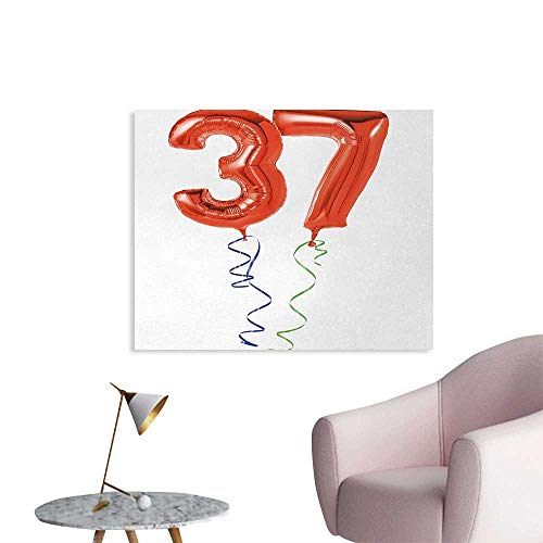 Tudouhoho 37th Birthday Poster Print Older It Gets Flying Party Balloons Surprise Years New Age Birthday Picture Mural Decoration Red White W36 xL32