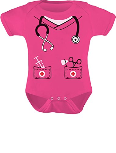 Tstars Infant Doctor, Nurse, Physician Halloween Easy Costume Cute Baby Bodysuit 12M Wow Pink ()