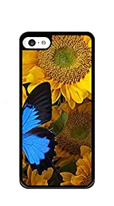 Customized Dual-Protective iphone 5c case for men funny - Sunflower and blue butterfly