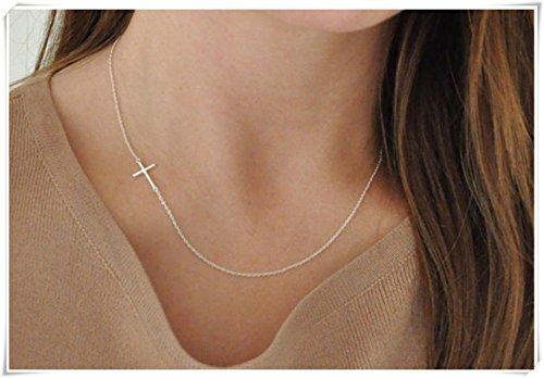 sea-maiden®Sideways Cross Necklace - Sterling Silver - On The Side - Small - Dainty - Minimalist - Delicate (Silver Side Cross Necklace)