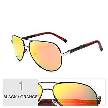 TIANLIANG04 Aviador Gafas De Sol Para Hombres Espejo Oval Lentes Polarizadas,El Negro, Naranja: Amazon.es: Deportes y aire libre