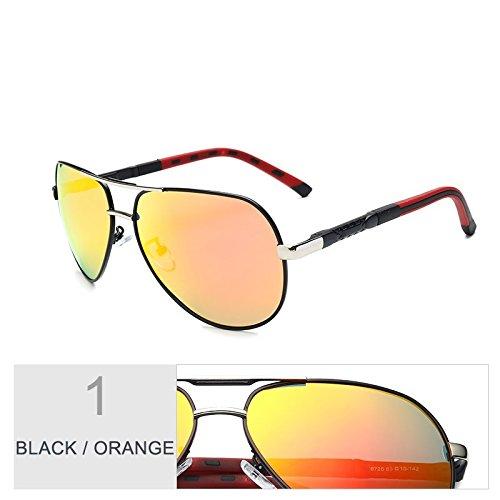 TIANLIANG04 Aviador Black Gafas Hombres Lentes Gris Para Gun Espejo De Sol Polarizadas Oval Orange qqrw75dA
