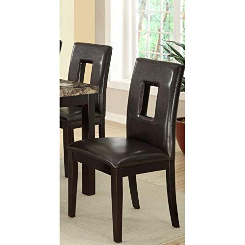 Poundex PDEX-F1051 Contemporary Dining Chair with Espresso & Pine Wood (Set of 2), Brown