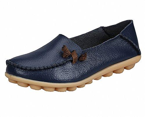 Dagdrivaren Skor, Kvinnor Äkta Läder Dagdrivare Tillfälliga Mockasin Drivskor Platta Slip-on Tofflor Mörkblå