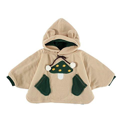 Mud Kingdom Mushroom Baby Cute Fleece Cloak Hoodie Coat 0-12M Khaki (Cute Mushroom Costume)